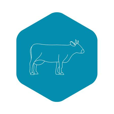 Cow icon, outline style Illustration