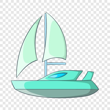 Speed boat with sail icon in cartoon style isolated on background for any web design
