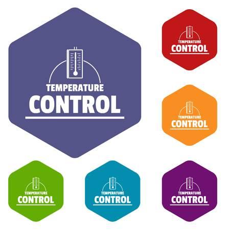 Temperature control icons vector hexahedron