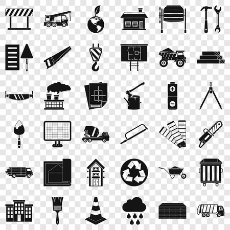 Construction place icons set, simple style