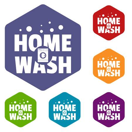 Home wash icons vector hexahedron
