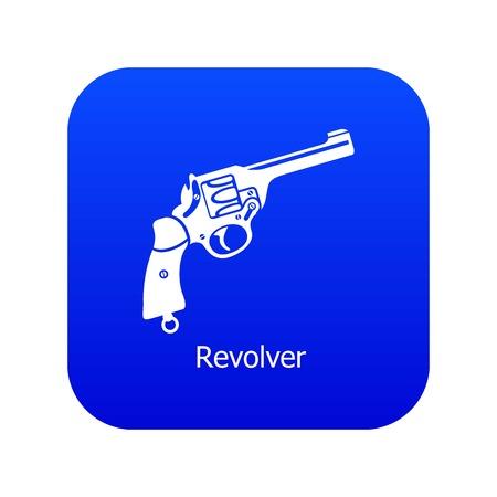 Revolver icon blue vector
