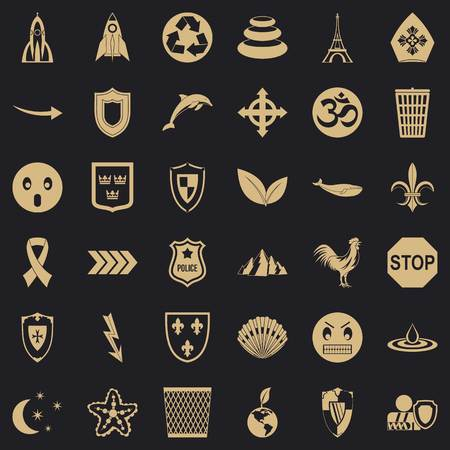 Protection emblem icons set, simple style