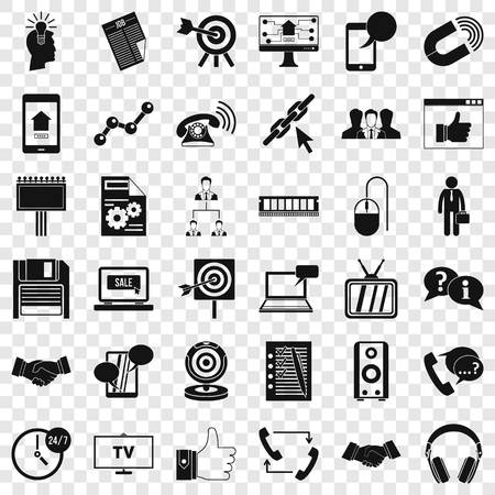 Data exchange icons set, simple style Illustration