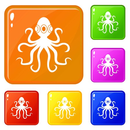 Octopus icons set collection vector 6 color isolated on white background