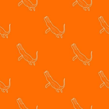 Underwater dinosaur car pattern vector orange