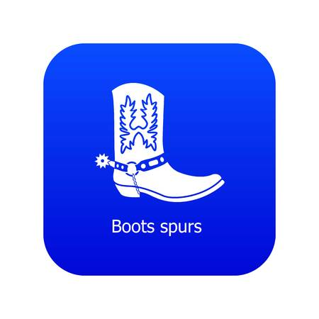 Boot spurs icon blue vector isolated on white background Illusztráció