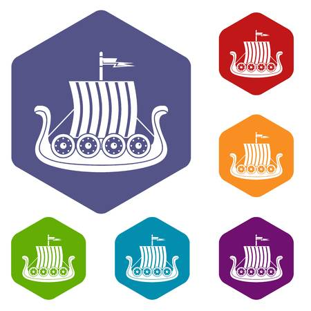 Sail icons vector hexahedron