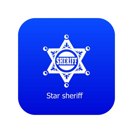 Star sheriff icon blue vector isolated on white background