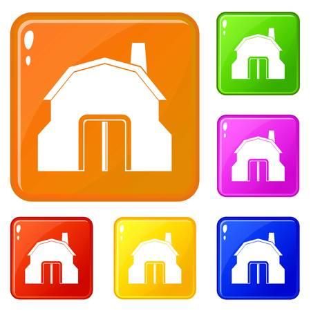 Blacksmith workshop building icons set vector color Stock Illustratie