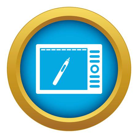 Graphics tablet icon blue vector isolated