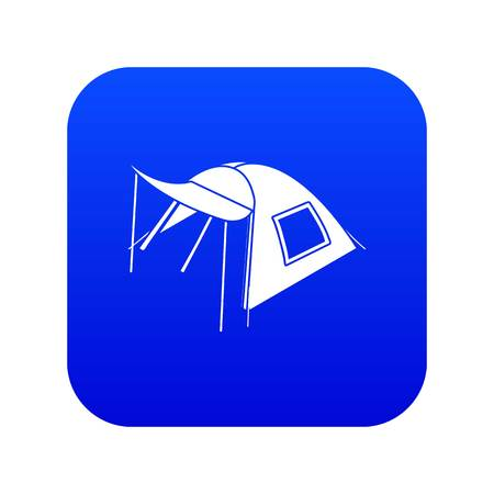One person tent icon blue vector isolated on white background Иллюстрация