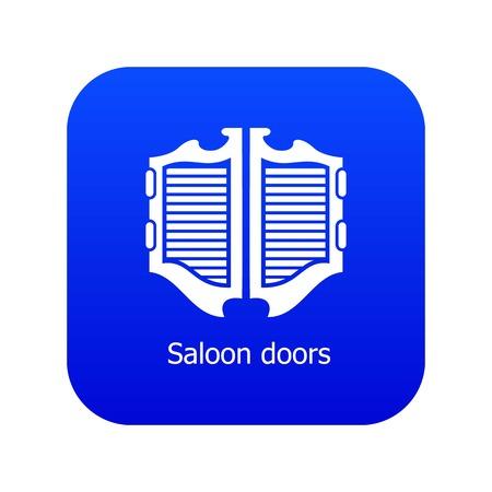 Icône de porte de saloon vecteur bleu isolé sur fond blanc