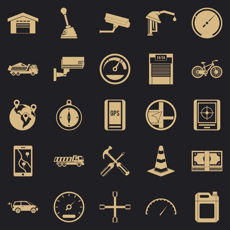 Large parking icons set. Simple set of 25 large parking vector icons for web for any design