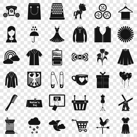 Woman dress icons set, simple style
