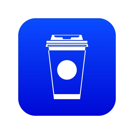 Paper coffee cup icon digital blue Çizim