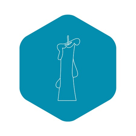 Church candle icon, outline style Vector Illustration