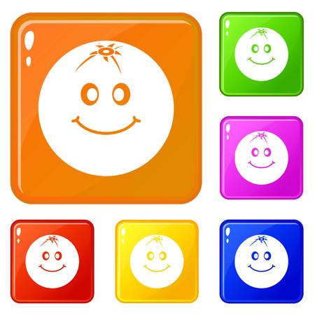 Smiling fruit icons set vector color