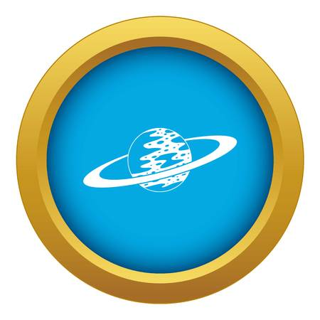 Saturn icon blue vector isolated