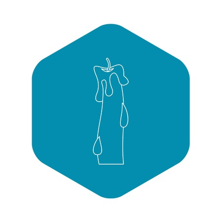 Waxy candle icon, outline style