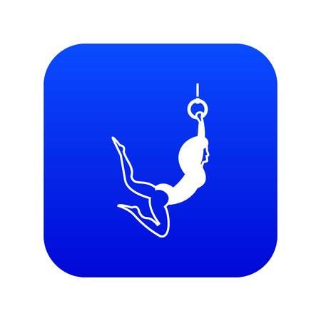 Female aerialist icon digital blue