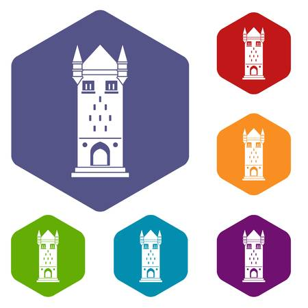Castle tower icons vector hexahedron