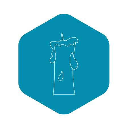 Small candle icon, outline style Vector Illustration