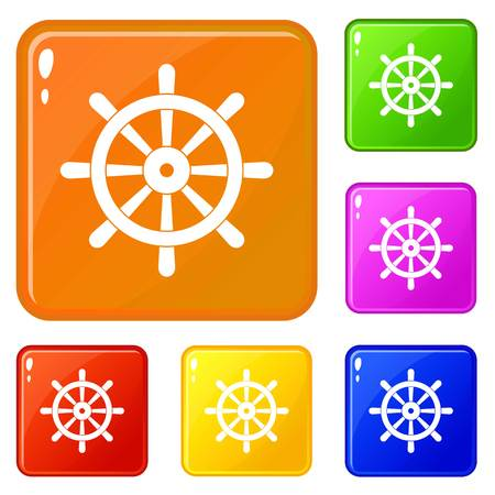 Wooden ship wheel icons set collection vector 6 color isolated on white background Illustration
