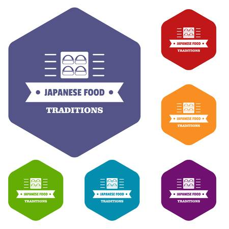 Japanese food icons vector hexahedron