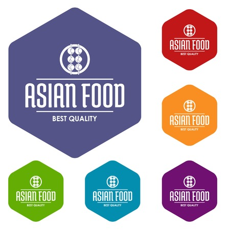Quality asian food icons vector hexahedron Illustration