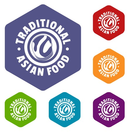 Lunch asian food icons vector hexahedron