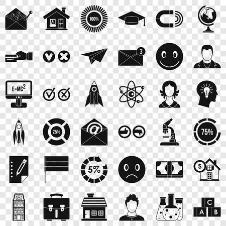 Online learning icons set, simple style