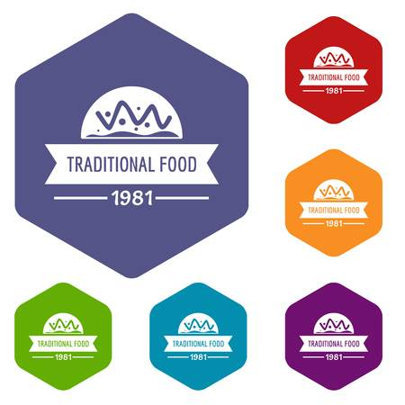 Traditional food icons vector hexahedron Illustration