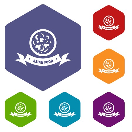 Top asian food icons vector hexahedron Illustration