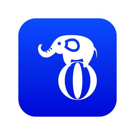 Elephant balancing on a ball icon digital blue for any design isolated on white vector illustration