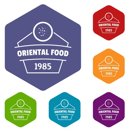 Traditional oriental food icons vector hexahedron