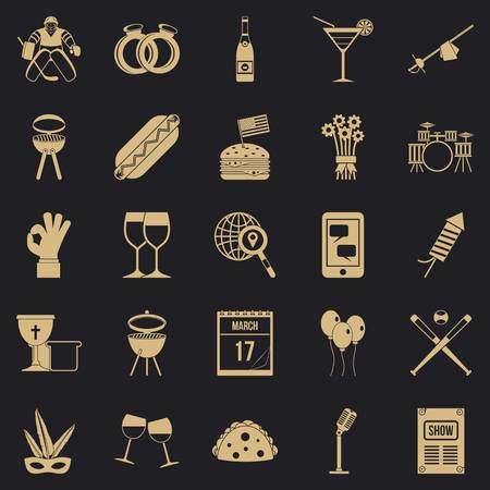 Happening Icons Set, einfacher Stil