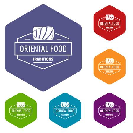 Oriental food icons vector hexahedron