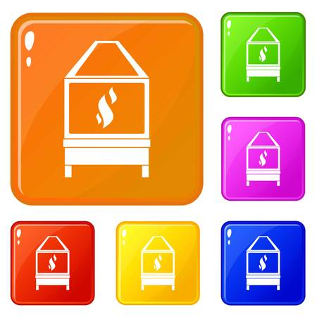 Blacksmith oven with flame fire icons set collection vector 6 color isolated on white background