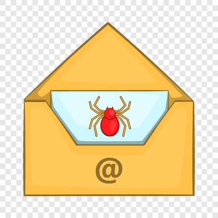Infected email icon in cartoon style isolated on background for any web design