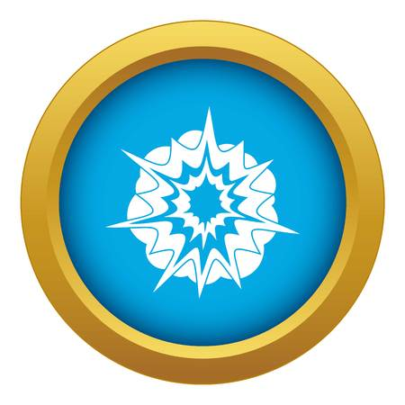 Fire explosion icon blue vector isolated