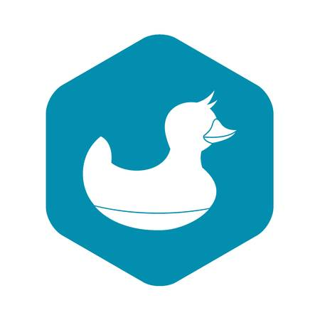 Black duck toy icon, simple style