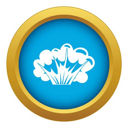 High powered explosion icon blue vector isolated