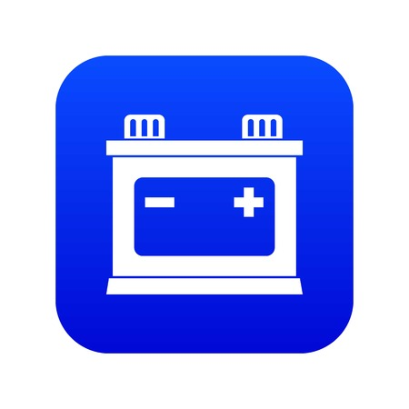Car battery icon digital blue for any design isolated on white vector illustration Иллюстрация