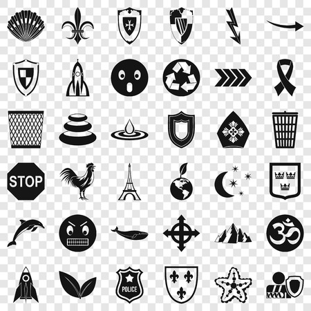 Warning emblem icons set, simple style