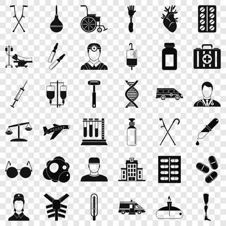 Aide premier jeu d'icônes, style simple Vecteurs