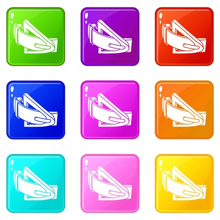 Fashion belt icons set 9 color collection isolated on white for any design Çizim