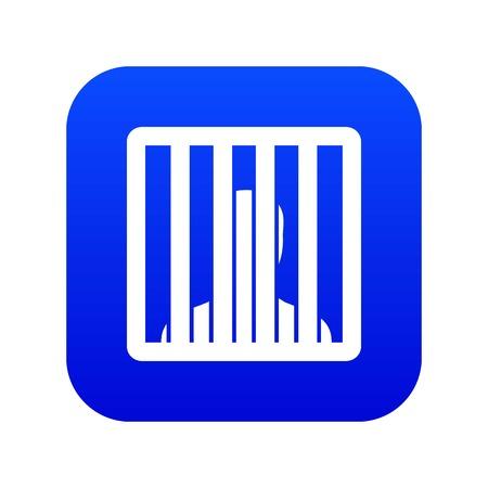 Man behind jail bars icon digital blue