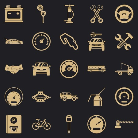 Car parking icons set. Simple set of 25 car parking vector icons for web for any design