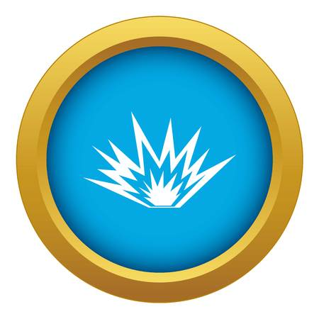 Nuclear explosion icon blue vector isolated Illustration